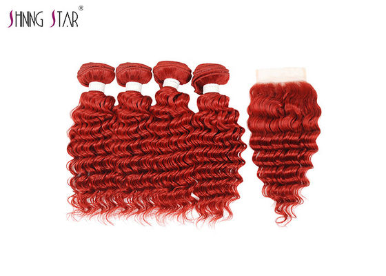 China 99J Brazilian Deep Wave Hair Bundles With Closure 100% Human Hair Burgundy Bundles distributor